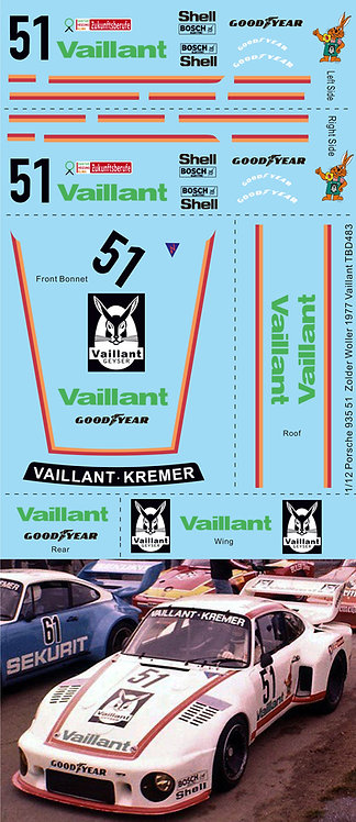 1/12 Decals Porsche 935 Nr 51 DRM Zolder Woller 1977 Vaillant  Decal TBD483