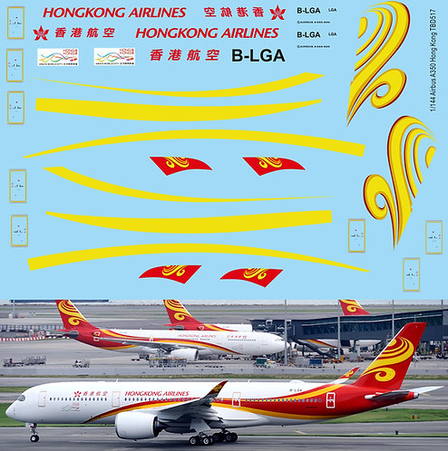 1/144 Decals for  Airbus A350 Hong Kong Airlines Livery Decal TBD517
