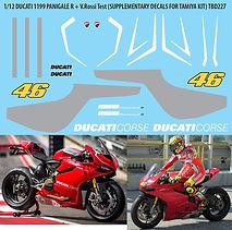 1/12 DUCATI 1199 R PANIGALE + VALENTINO ROSSI TAMIYA DECALS TB DECAL TBD227