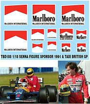 1/18 MARLBORO AYRTON SENNA FIGURE SPONSOR & TAXI 1991 BRITISH F1 DECALS TB DECAL TBD188