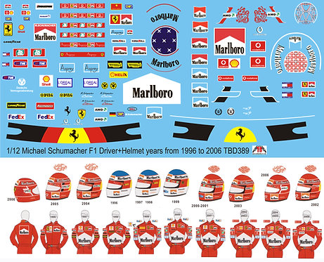 1/12 Michael Schumacher F1 Figure Driver years from 1996 to 2006 Decals TB Decal