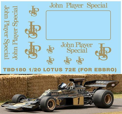 1/20 LOTUS 72E JPS SPONSOR DECALS DECALS TBD180