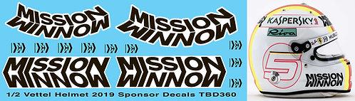1/2 Helmet Vettel 2019 Mission Winnow Decals TB Decal TBD360