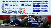 1/20  Rothmans F1 Fujimi Williams FW16 Ayrton Senna DECALS TB DECAL TBD70