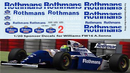 1/20  Rothmans F1 Fujimi Williams FW16 Senna TBD70