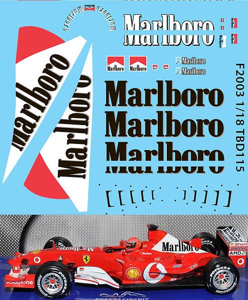 1/18 FERRARI F1 F2003 MICHAEL SCHUMACHER TBD115
