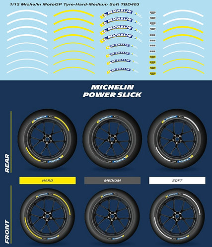 1/12 Michelin MotoGP Tyre Soft Medium Hard Decals TB Decal TBD403