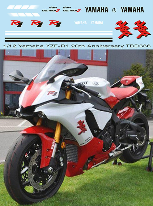 1/12 YAMAHA YZF-R1 M 20TH  ANNIVERSARY DECALS CONVERSION SET FOR TAMIYA KIT 1413