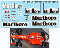 1/18 MARLBORO FERRARI F399 1999 SPONSOR MICHAEL SCHUMACHER DECALS TB DECAL TBD140
