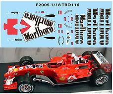 1/18 MARLBORO FERRARI F1 F2005 F 2005 MICHAEL SCHUMACHER SPONSOR DECALS TB DECAL TBD116