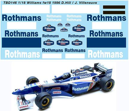 1/18  WILLIAMS RENAULT FW18 1996 DECALS  TBD146