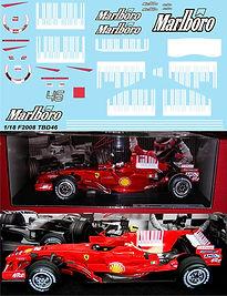 1/18  MARLBORO FERRARI F2008 F1 INC. SHARK BARCODE ROSSI KIMI MASSA DECALS TB DECAL  TBD46