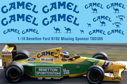 1/18  B192 Benetton Ford F1 1992 Decal  Missing Sponsor Decals TBD305