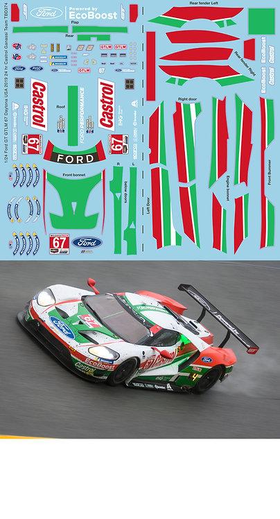 1/24 Ford GT GTLM 67 Daytona 2019 24 hr Castrol USA Ganassi Team Decal