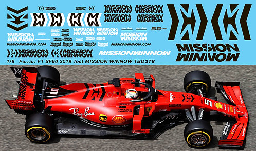 1/8 Ferrari SF90 Formula 1 2019 F1Test Mission Winnow Decals TBD378