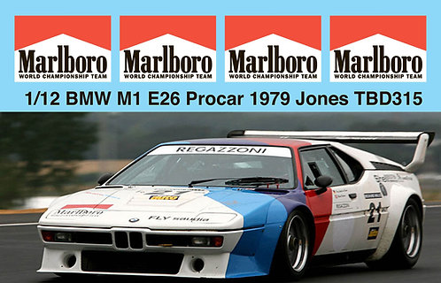 1/12 DECALS  BMW M1 E26 PROCAR 1979 CLAY REGAZZONI 7 JONES DECAL TBD315