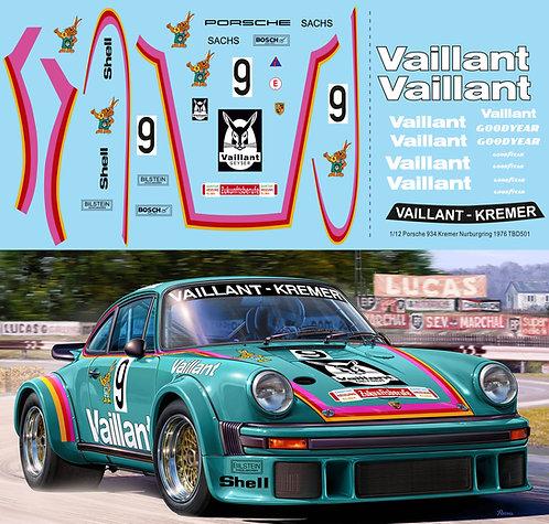 1/12 Decals Porsche 934 Vaillant Kremer N 9 NURBURGRING 1976 TBD501