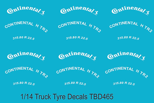 1/14 Continental Tire Decals for Trucks  Tyre Pneumatici  Lorry Camion TBD465
