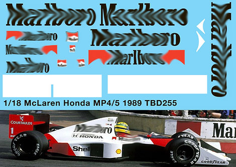 1/18 McLaren Honda MP4/5 F1 Ayrton Senna 1989 Decals TB Decal TBD255
