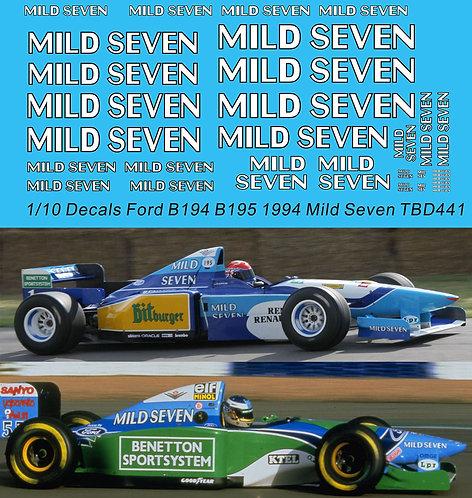 1/10 Decals Benetton Ford B194 B195 1994 Mild Seven Schumacher TBD441