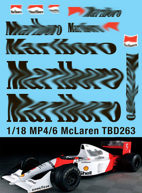 1/18 McLaren Honda MP4/6 Ayrton Senna G.Berger 1991 Decals TB Decal TBD263