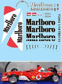 1/18 MARLBORO  FERRARI F1 F2003 MICHAEL SCHUMACHER SPONSOR DECALS  DECALS TB DECAL TBD115