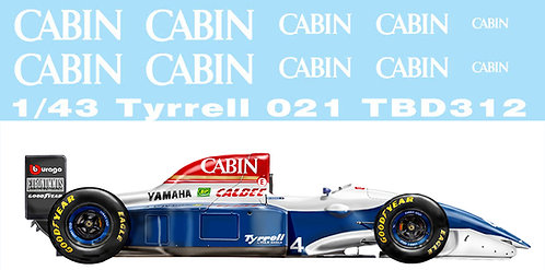 1/43 DECALS TYRRELL 021 1993 DECAL TBD312