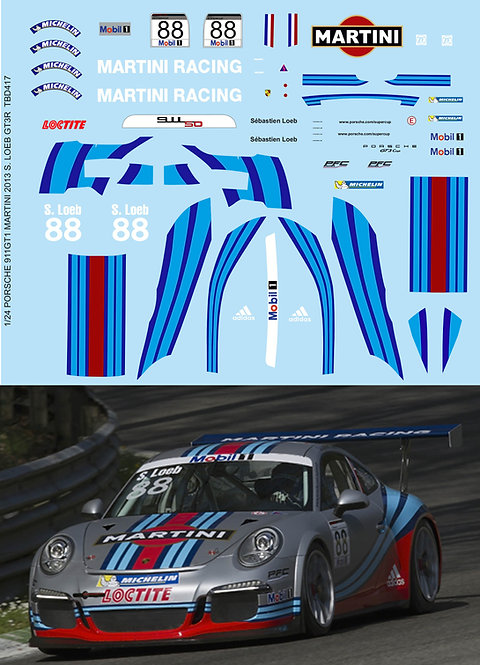 1/24 PORSCHE 911 GT1 MARTINI 2013 S. LOEB GT3R Decals TB Decal TBD417
