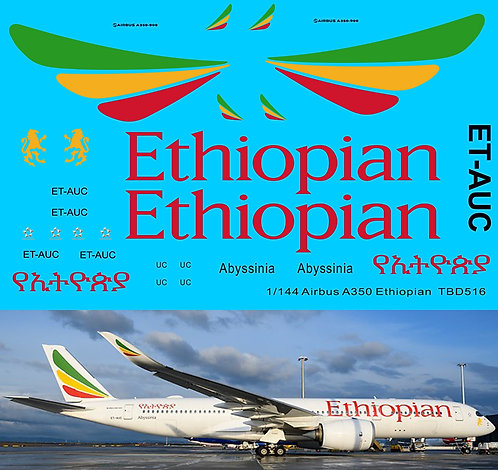 1/144 Decals for Airbus A350  Ethiopian Airlines livery TB Decals TBD516