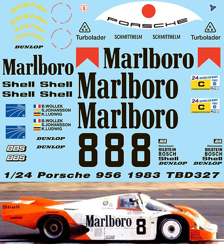 1/24 PORSCHE 956 1983 N8 DECALS FOR TAMIYA REVELL TB DECAL TBD327