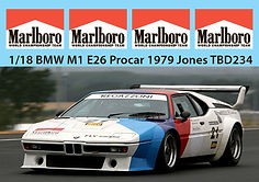 1/18 MARLBORO BMW M1 E26 PROCAR 1979 JONES MISSING SPONSOR  DECALS TB DECAL TBD234
