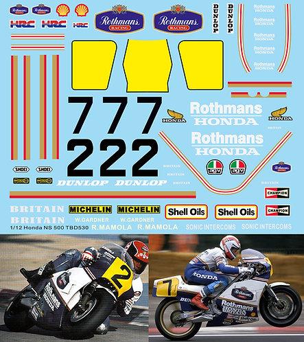 1/12 Decals Honda NS500 Gardner Mamola Rothmans 1985 TB Decal TBD530