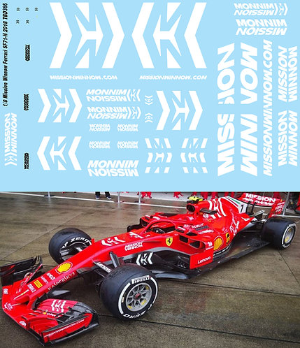 1/8 FERRARI SF71H 2018 MISSION WINNOW DECALS VETTEL RAIKKONEN TB DECAL TBD366