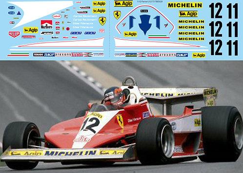 1/12 Decals for Ferrari 312T3 Villeneuve Reuteman TB Decal TBD529