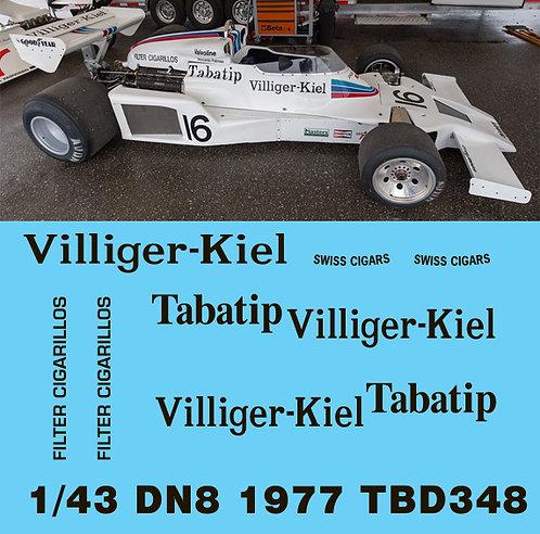 1/43 SHADOW DN8 1977  Formula 1 DECALS  TB DECAL TBD348