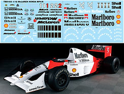1/12 MARLBORO MCLAREN MP4/6 FOR TAMIYA  FULL AYRTON SENNA DECALS TB DECAL  TBD183