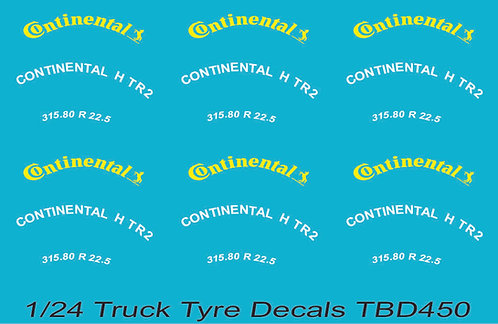 1/24 Continental Yellow Tire Decals for Trucks   Tyre Pneumatici  Lorry TBD450