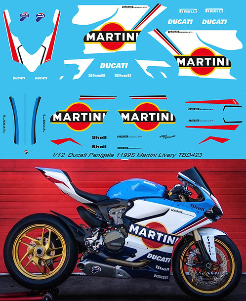 1/12 DUCATI PANIGALE 1199 S MARTINI LIVERY DECALS TB DECAL TBD423