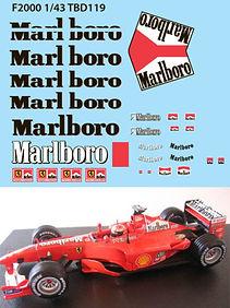 1/43  MARLBORO FERRARI F1 F2000 2000 MICHAEL SCHUMACHER SPONSOR DECALS TB DECAL TBD119