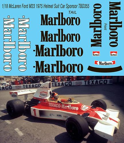 1/18 McLaren Ford M23 1975 CORRECT  DECALS SPONSOR HELMET SUIT Decal TBD355