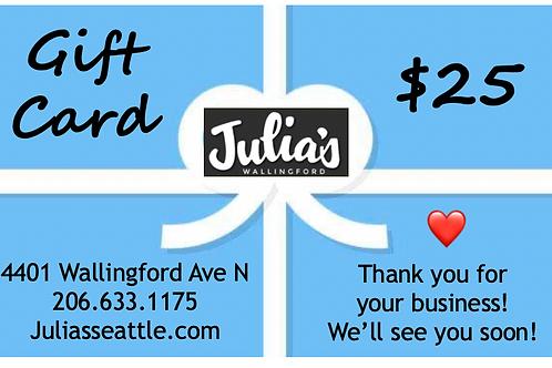 $25 Julia's in Wallingford Gift Card