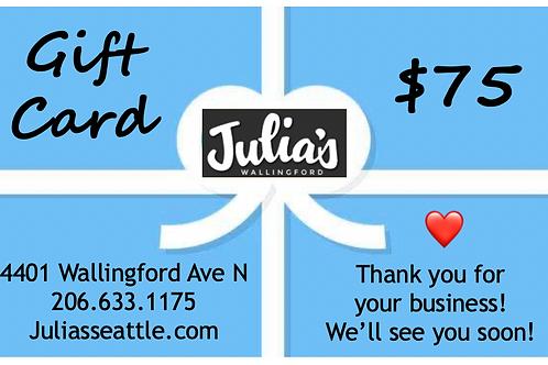$75 Julia's in Wallingford Gift Card