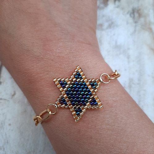 , עיצוב ישראלי, תכשיט מגן דוד, צמיד ציפוי זהב, צמיד עבודת יד, צמיד ישראלי