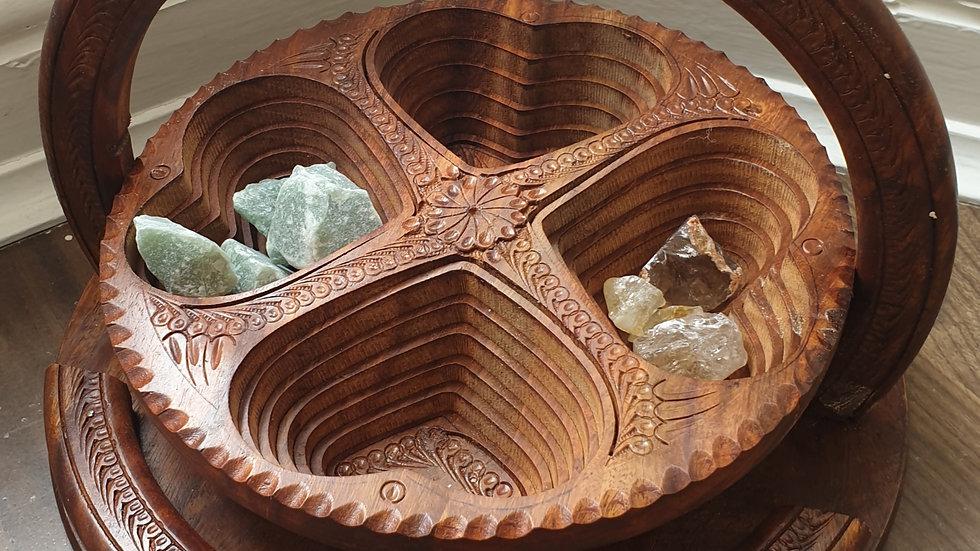 Hand Carved Wooden Crystal Basket