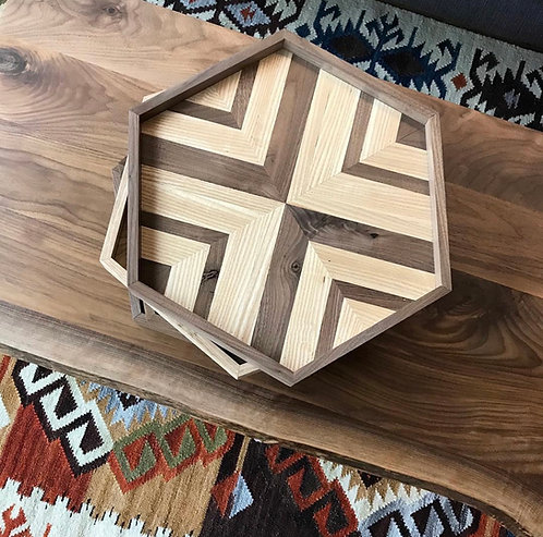 Hexagon Serving Tray - Wood