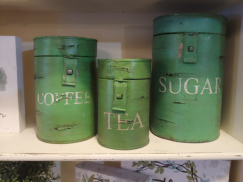 Distressed Green Canister Set
