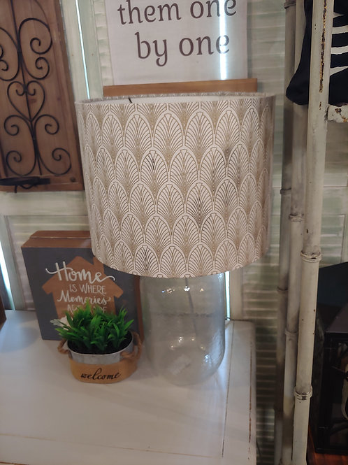 Glass Lamp with Gold and White Linen Shade