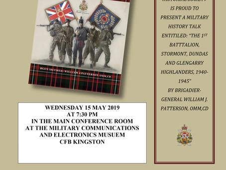 Military History Talk Wednesday May 15, 2019, 7:30 pm