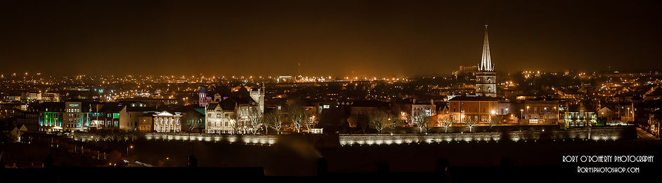 Derry Walls at Night Panoramic