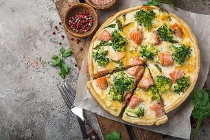 Delicious Quiche with Smoked Salmon & Broccoli